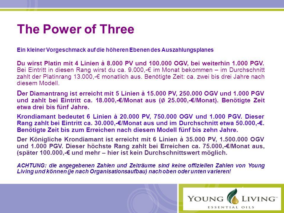 The Power of Three Ein kleiner Vorgeschmack auf die höheren Ebenen des Auszahlungsplanes Du wirst Platin mit 4 Linien à 8.000 PV und 100.000 OGV, bei