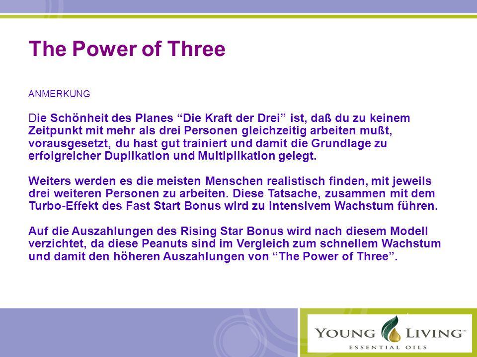 """The Power of Three ANMERKUNG Die Schönheit des Planes """"Die Kraft der Drei"""" ist, daß du zu keinem Zeitpunkt mit mehr als drei Personen gleichzeitig arb"""