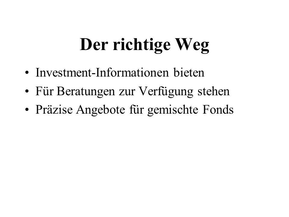 Der richtige Weg Investment-Informationen bieten Für Beratungen zur Verfügung stehen Präzise Angebote für gemischte Fonds