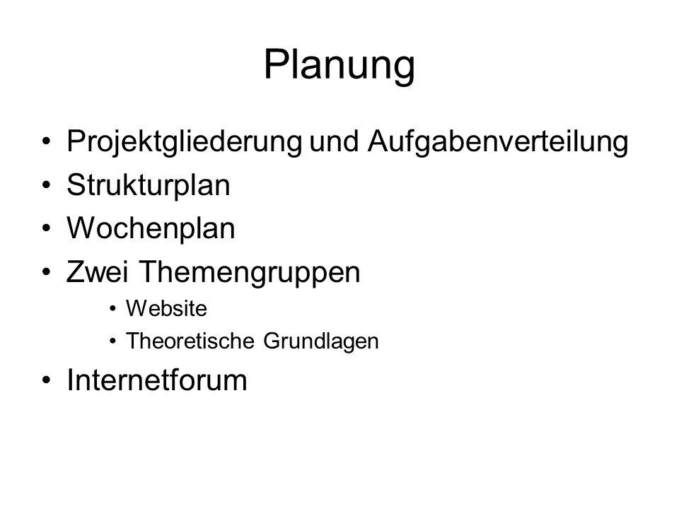 Planung Projektgliederung und Aufgabenverteilung Strukturplan Wochenplan Zwei Themengruppen Website Theoretische Grundlagen Internetforum