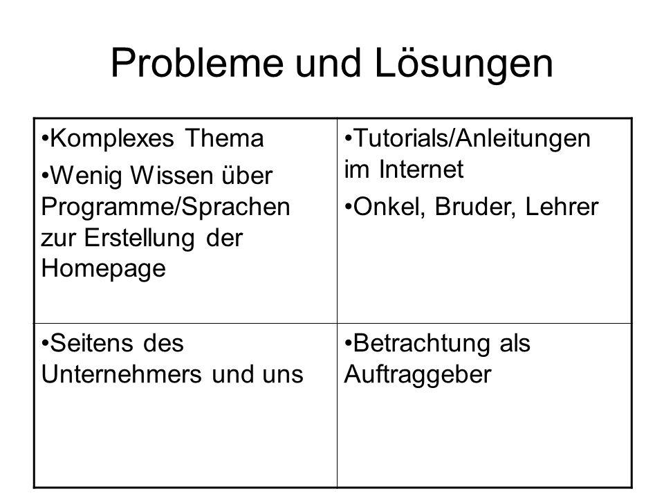 Probleme und Lösungen Komplexes Thema Wenig Wissen über Programme/Sprachen zur Erstellung der Homepage Tutorials/Anleitungen im Internet Onkel, Bruder