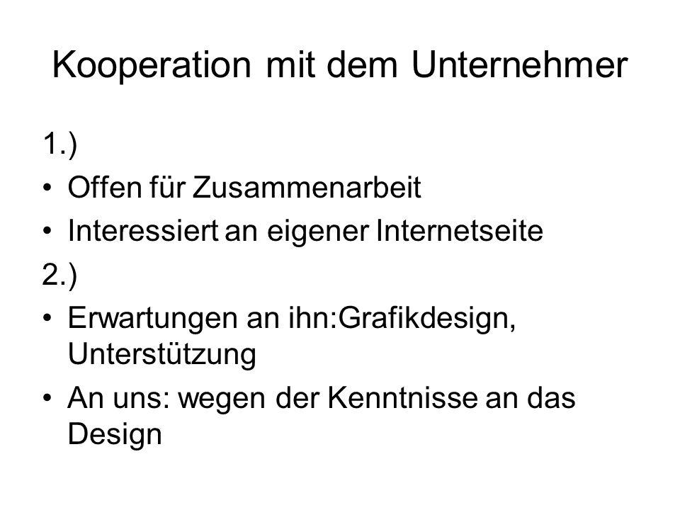 Kooperation mit dem Unternehmer 1.) Offen für Zusammenarbeit Interessiert an eigener Internetseite 2.) Erwartungen an ihn:Grafikdesign, Unterstützung