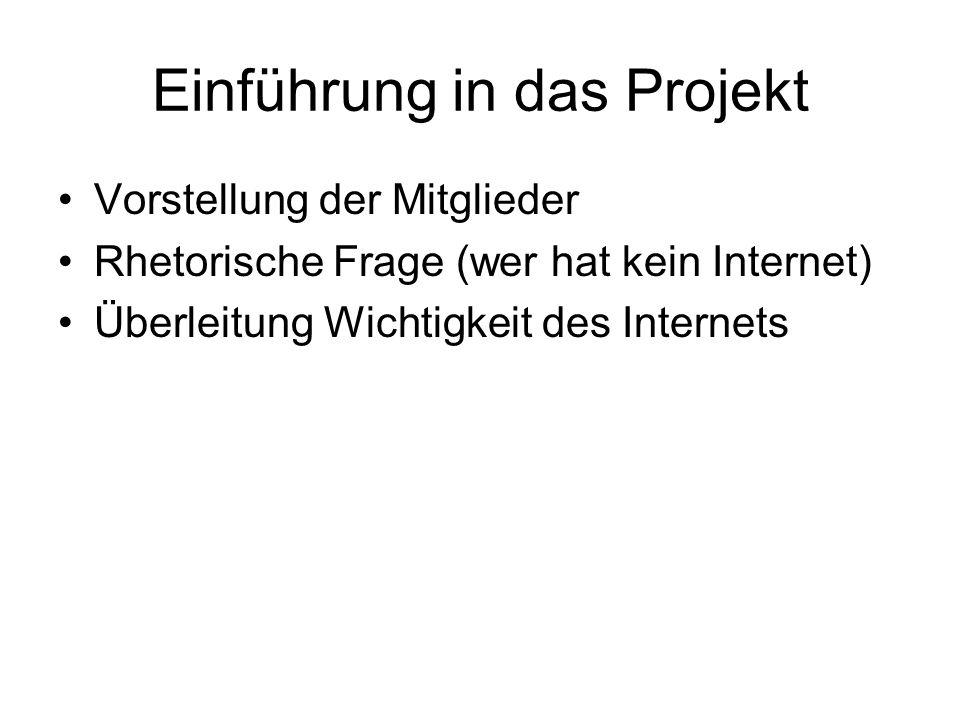 Einführung in das Projekt Vorstellung der Mitglieder Rhetorische Frage (wer hat kein Internet) Überleitung Wichtigkeit des Internets