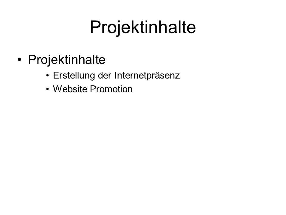 Projektinhalte Erstellung der Internetpräsenz Website Promotion