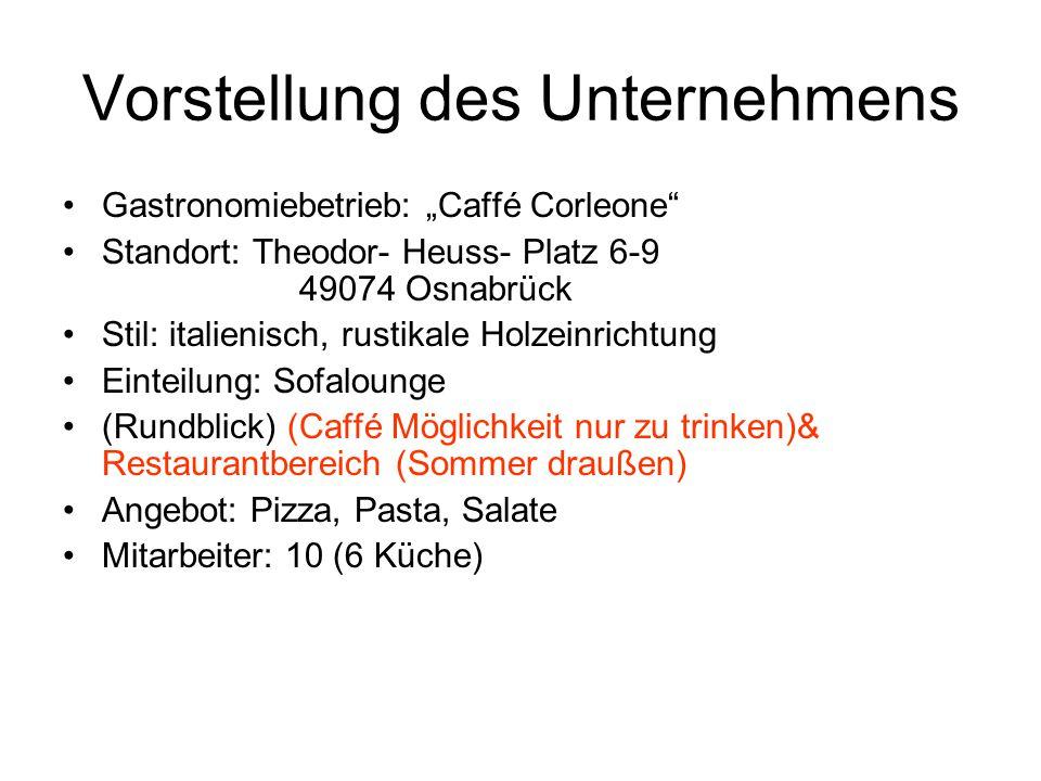 """Vorstellung des Unternehmens Gastronomiebetrieb: """"Caffé Corleone"""" Standort: Theodor- Heuss- Platz 6-9 49074 Osnabrück Stil: italienisch, rustikale Hol"""