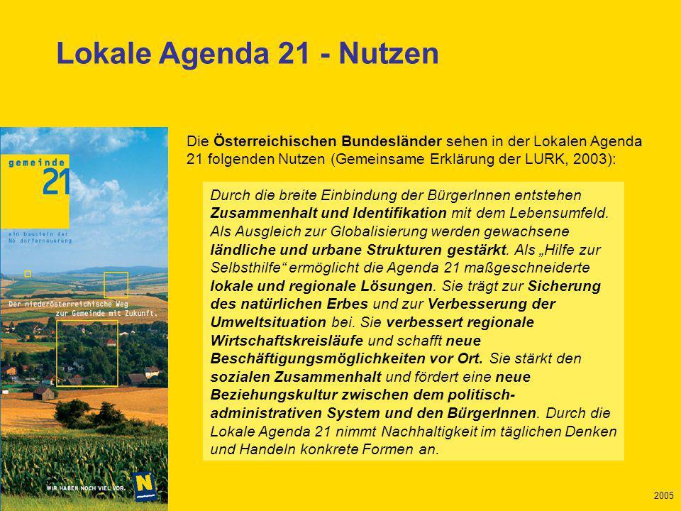 Mai 2005 2005 Kriterien der Nachhaltigkeit leben Nicht nur bei einigen Projekten, sondern in allen Bereichen Auch noch in fünf, zehn Jahren Persönlich, in den Vereinen, in der Gemeinde … BEI SICH SELBER BEGINNEN …
