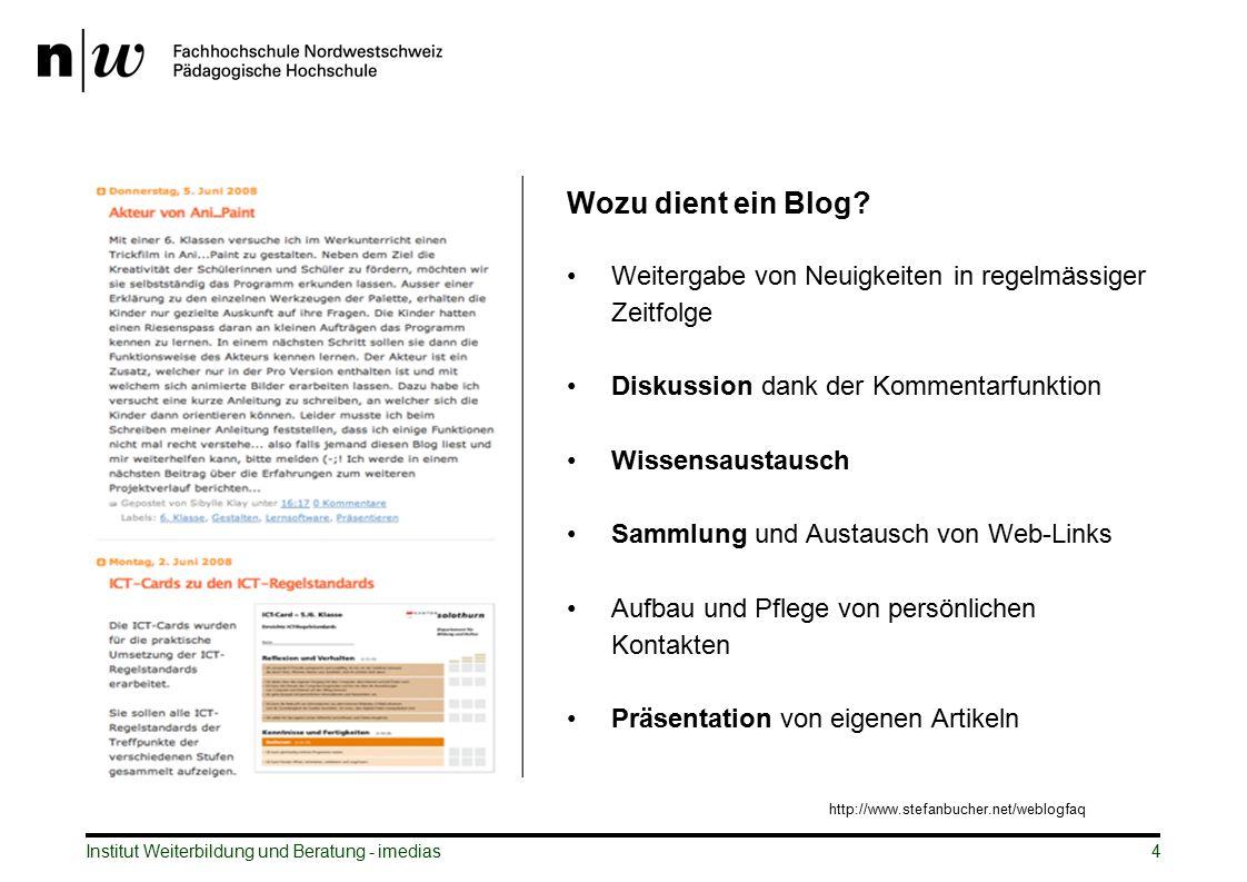 Wozu dient ein Blog? Weitergabe von Neuigkeiten in regelmässiger Zeitfolge Diskussion dank der Kommentarfunktion Wissensaustausch Sammlung und Austaus