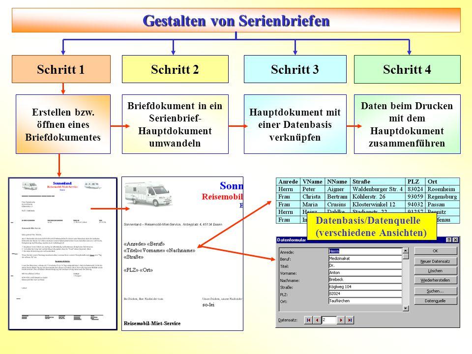 Gestalten von Serienbriefen Erstellen bzw. öffnen eines Briefdokumentes Briefdokument in ein Serienbrief- Hauptdokument umwandeln Hauptdokument mit ei