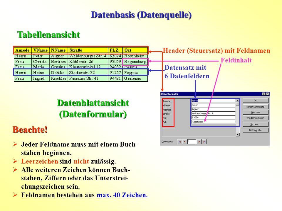 Datenbasis (Datenquelle) Tabellenansicht Datenblattansicht (Datenformular) Header (Steuersatz) mit Feldnamen Datensatz mit 6 Datenfeldern Feldinhalt 