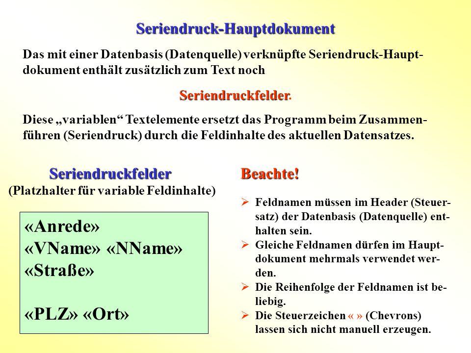 Seriendruck-Hauptdokument Seriendruckfelder Seriendruckfelder (Platzhalter für variable Feldinhalte) «Anrede» «VName» «NName» «Straße» «PLZ» «Ort» Das