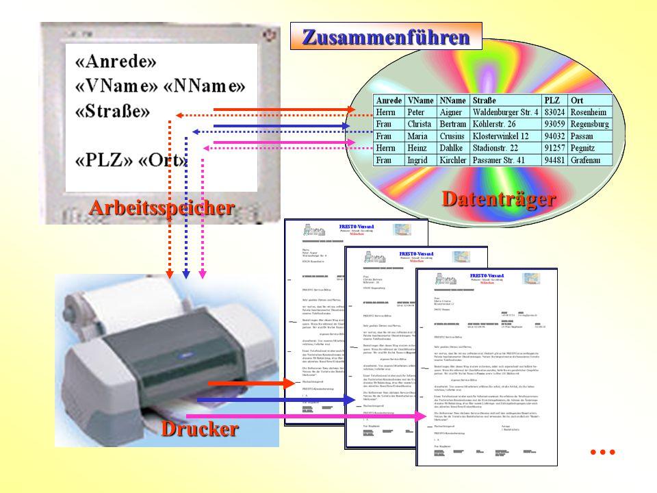 Datenträger Arbeitsspeicher Drucker  Zusammenführen