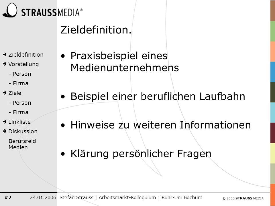© 2005 STRAUSS MEDIA Zieldefinition Vorstellung - Person - Firma Ziele - Person - Firma Linkliste Diskussion Berufsfeld Medien 24.01.2006Stefan Strauss | Arbeitsmarkt-Kolloquium | Ruhr-Uni Bochum #3 Phase: Mülheim an der Ruhr 1978, geboren in Mülheim an der Ruhr 1993, erstes 4-wöchiges Praktikum Werbeagentur in Mülheim 1995, Tätigkeit RWW Wasserwerk Mülheim, Öffentlichkeitsarbeit/ Kommunikation Schule bis 07/1997, Abitur