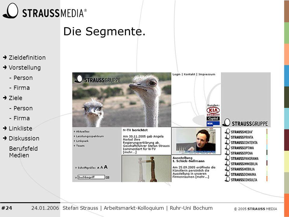 © 2005 STRAUSS MEDIA Zieldefinition Vorstellung - Person - Firma Ziele - Person - Firma Linkliste Diskussion Berufsfeld Medien 24.01.2006Stefan Strauss | Arbeitsmarkt-Kolloquium | Ruhr-Uni Bochum #24 Die Segmente.