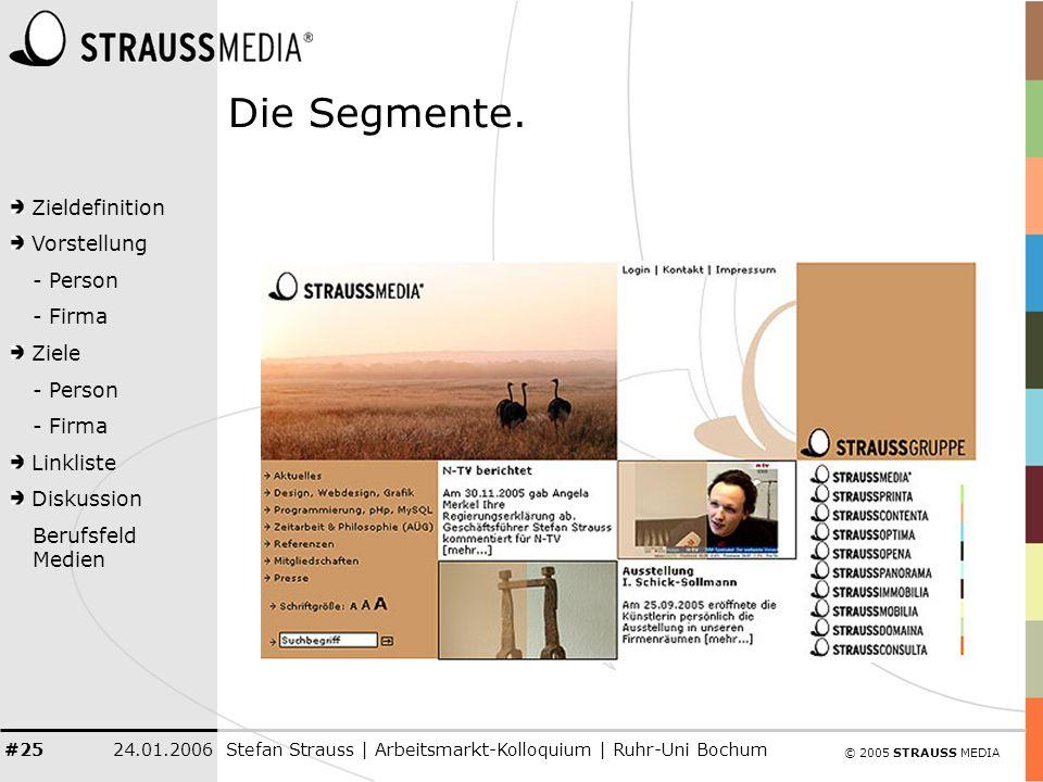 © 2005 STRAUSS MEDIA Zieldefinition Vorstellung - Person - Firma Ziele - Person - Firma Linkliste Diskussion Berufsfeld Medien 24.01.2006Stefan Strauss | Arbeitsmarkt-Kolloquium | Ruhr-Uni Bochum #25 Die Segmente.