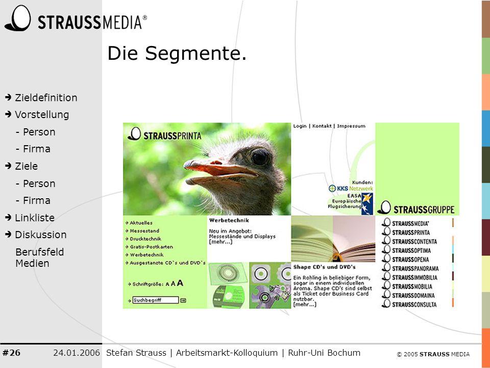 © 2005 STRAUSS MEDIA Zieldefinition Vorstellung - Person - Firma Ziele - Person - Firma Linkliste Diskussion Berufsfeld Medien 24.01.2006Stefan Strauss | Arbeitsmarkt-Kolloquium | Ruhr-Uni Bochum #26 Die Segmente.