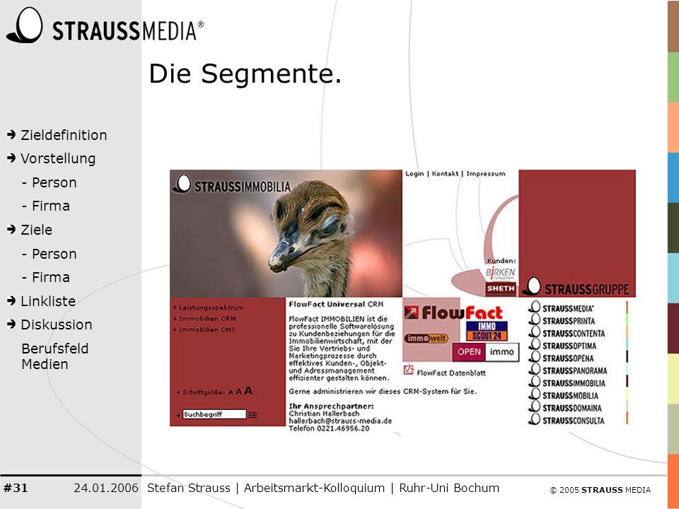 © 2005 STRAUSS MEDIA Zieldefinition Vorstellung - Person - Firma Ziele - Person - Firma Linkliste Diskussion Berufsfeld Medien 24.01.2006Stefan Strauss | Arbeitsmarkt-Kolloquium | Ruhr-Uni Bochum #31 Die Segmente.