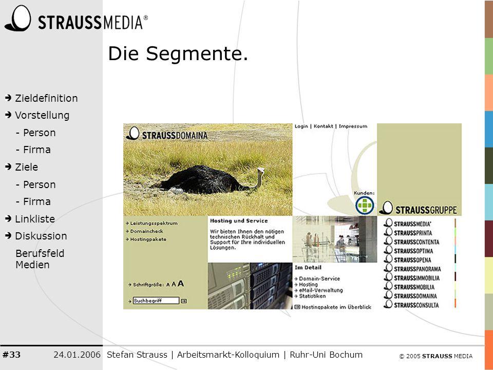 © 2005 STRAUSS MEDIA Zieldefinition Vorstellung - Person - Firma Ziele - Person - Firma Linkliste Diskussion Berufsfeld Medien 24.01.2006Stefan Strauss | Arbeitsmarkt-Kolloquium | Ruhr-Uni Bochum #33 Die Segmente.