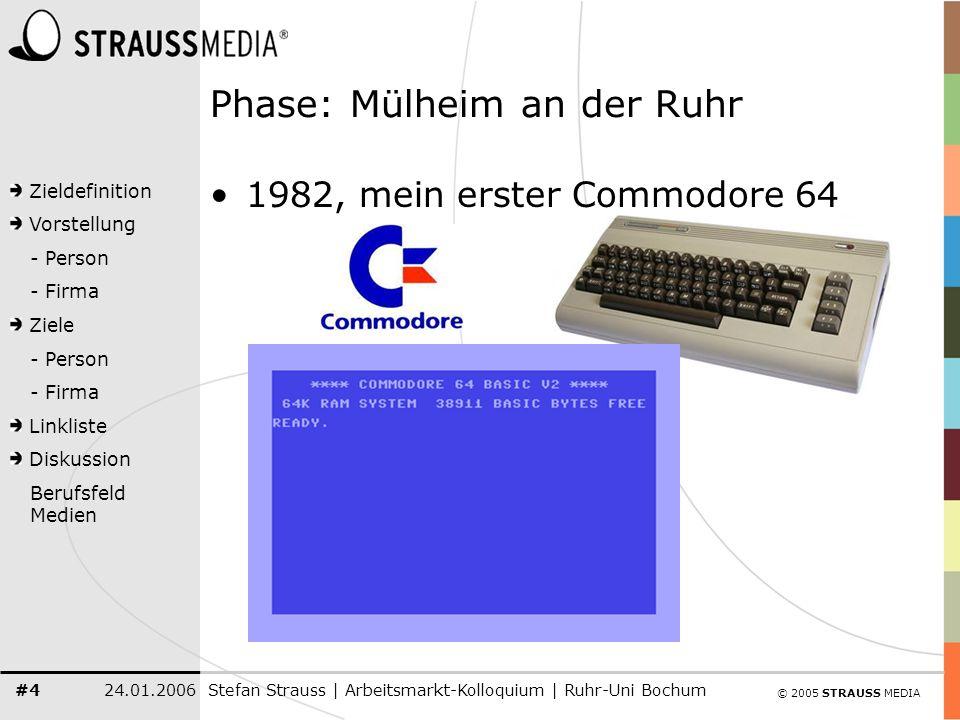 © 2005 STRAUSS MEDIA Zieldefinition Vorstellung - Person - Firma Ziele - Person - Firma Linkliste Diskussion Berufsfeld Medien 24.01.2006Stefan Strauss | Arbeitsmarkt-Kolloquium | Ruhr-Uni Bochum #35 Das Kernprodukt: CMS/CRM