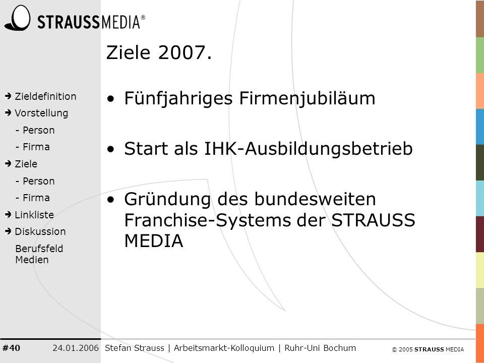 © 2005 STRAUSS MEDIA Zieldefinition Vorstellung - Person - Firma Ziele - Person - Firma Linkliste Diskussion Berufsfeld Medien 24.01.2006Stefan Strauss | Arbeitsmarkt-Kolloquium | Ruhr-Uni Bochum #40 Ziele 2007.