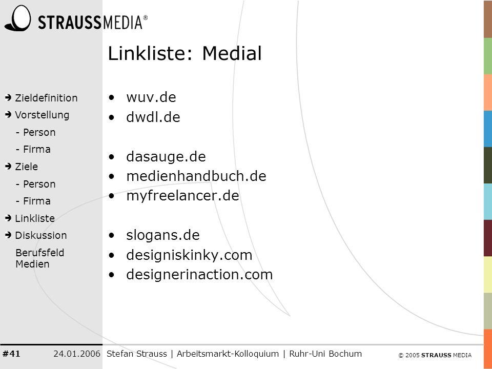 © 2005 STRAUSS MEDIA Zieldefinition Vorstellung - Person - Firma Ziele - Person - Firma Linkliste Diskussion Berufsfeld Medien 24.01.2006Stefan Strauss | Arbeitsmarkt-Kolloquium | Ruhr-Uni Bochum #41 Linkliste: Medial wuv.de dwdl.de dasauge.de medienhandbuch.de myfreelancer.de slogans.de designiskinky.com designerinaction.com