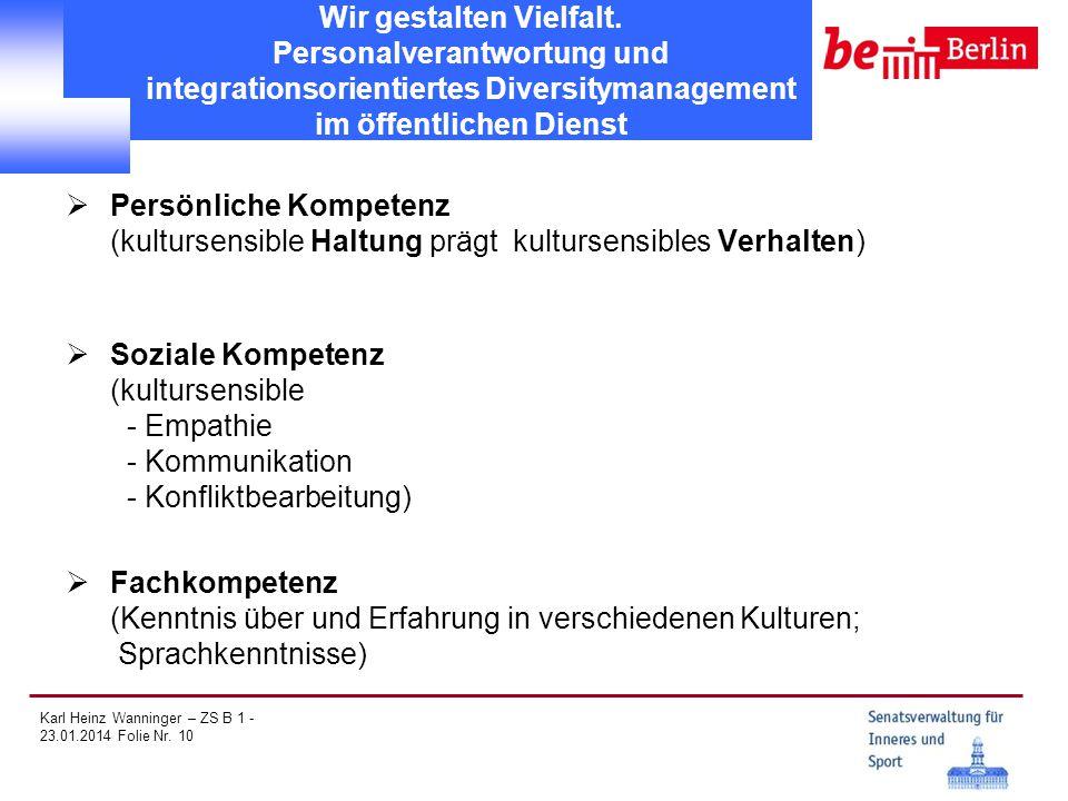 Karl Heinz Wanninger – ZS B 1 - 23.01.2014 Folie Nr. 10 Wir gestalten Vielfalt. Personalverantwortung und integrationsorientiertes Diversitymanagement