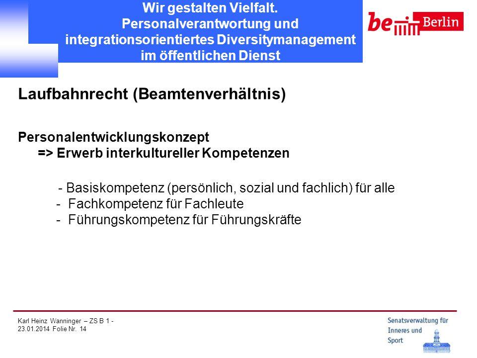 Karl Heinz Wanninger – ZS B 1 - 23.01.2014 Folie Nr. 14 Wir gestalten Vielfalt. Personalverantwortung und integrationsorientiertes Diversitymanagement