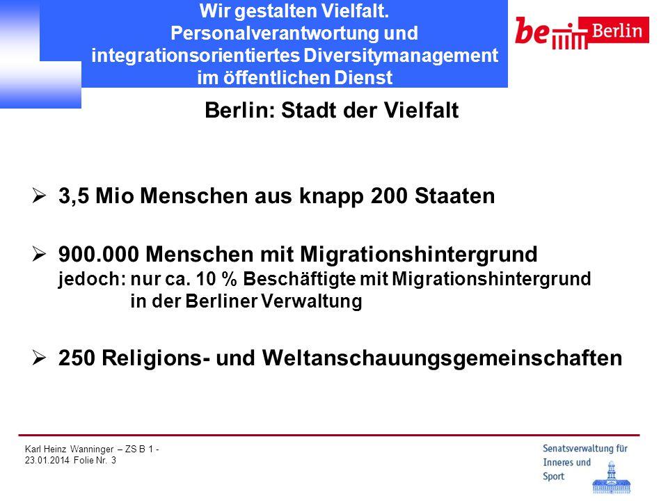 Karl Heinz Wanninger – ZS B 1 - 23.01.2014 Folie Nr. 3 Wir gestalten Vielfalt. Personalverantwortung und integrationsorientiertes Diversitymanagement