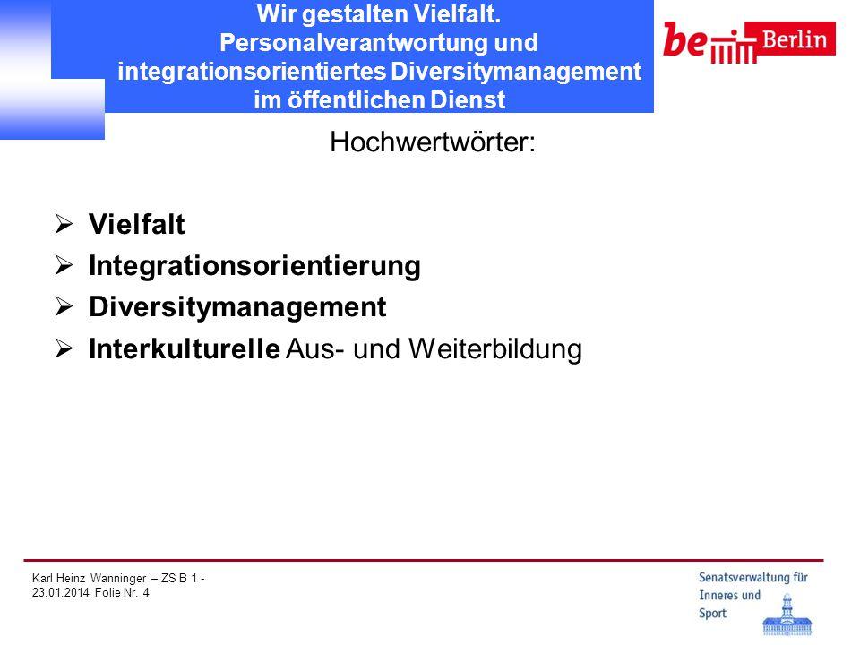 Karl Heinz Wanninger – ZS B 1 - 23.01.2014 Folie Nr. 4 Wir gestalten Vielfalt. Personalverantwortung und integrationsorientiertes Diversitymanagement