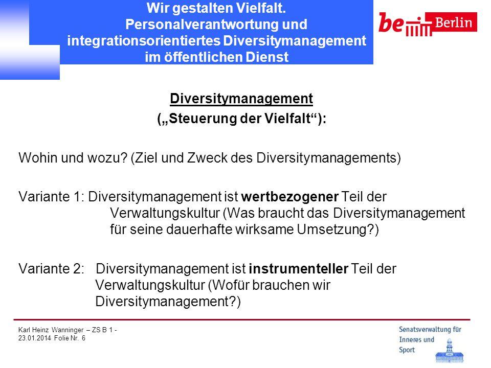 Karl Heinz Wanninger – ZS B 1 - 23.01.2014 Folie Nr. 6 Wir gestalten Vielfalt. Personalverantwortung und integrationsorientiertes Diversitymanagement