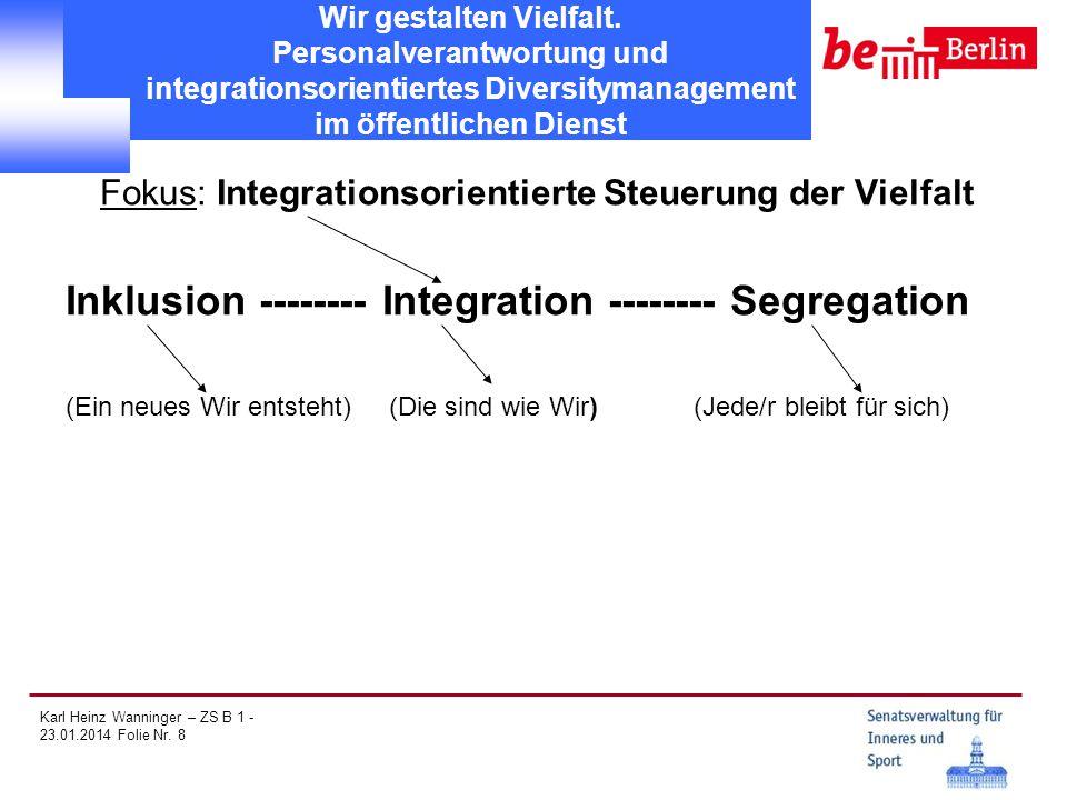 Karl Heinz Wanninger – ZS B 1 - 23.01.2014 Folie Nr. 8 Wir gestalten Vielfalt. Personalverantwortung und integrationsorientiertes Diversitymanagement