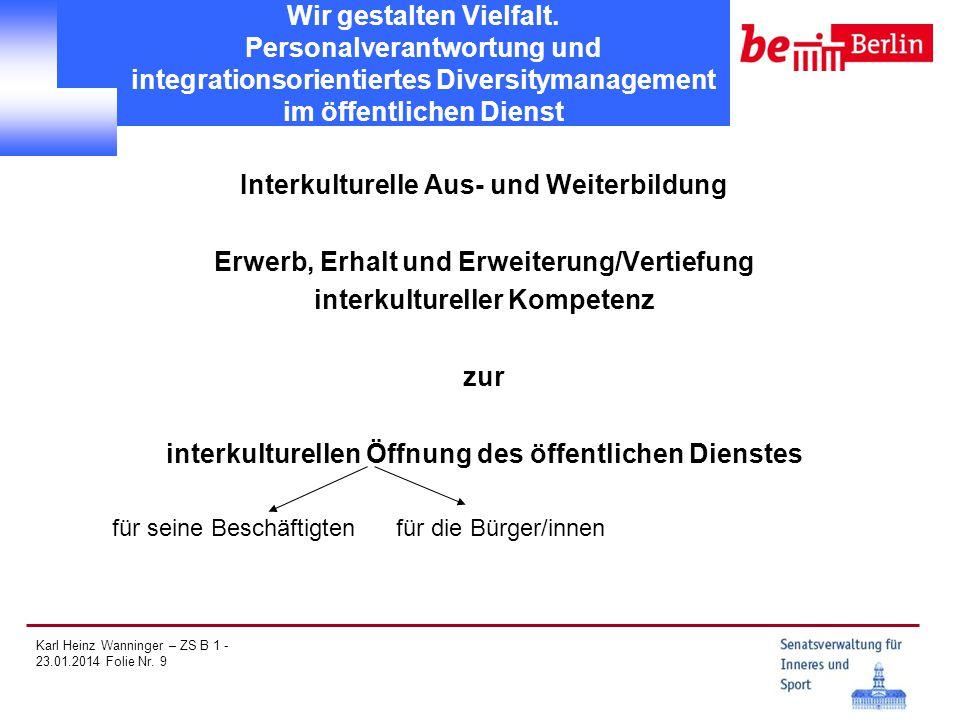Karl Heinz Wanninger – ZS B 1 - 23.01.2014 Folie Nr. 9 Wir gestalten Vielfalt. Personalverantwortung und integrationsorientiertes Diversitymanagement