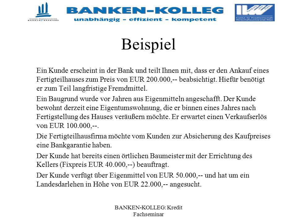 BANKEN-KOLLEG: Kredit Fachseminar Beispiel Ein Kunde erscheint in der Bank und teilt Ihnen mit, dass er den Ankauf eines Fertigteilhauses zum Preis vo