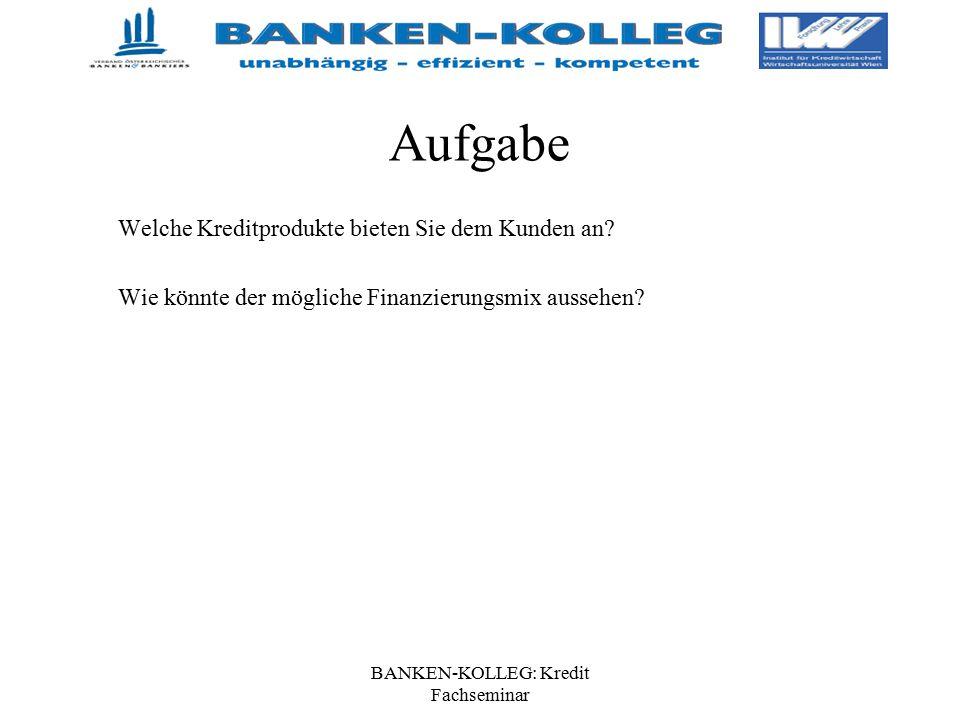 BANKEN-KOLLEG: Kredit Fachseminar Aufgabe Welche Kreditprodukte bieten Sie dem Kunden an? Wie könnte der mögliche Finanzierungsmix aussehen?