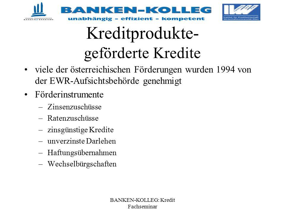 BANKEN-KOLLEG: Kredit Fachseminar Kreditprodukte- geförderte Kredite viele der österreichischen Förderungen wurden 1994 von der EWR-Aufsichtsbehörde g