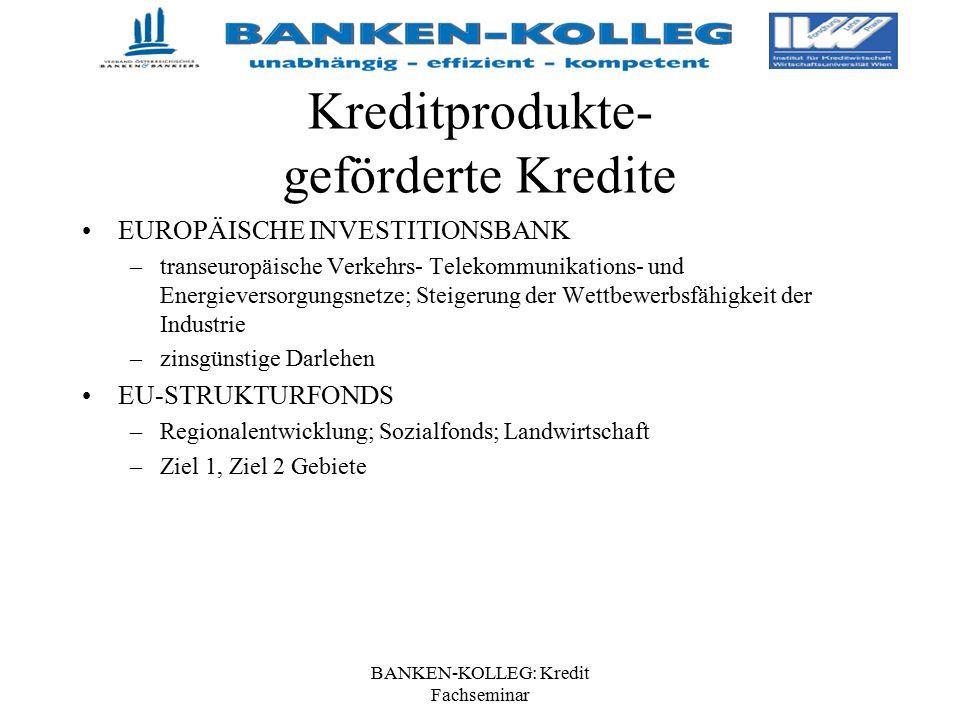 BANKEN-KOLLEG: Kredit Fachseminar Kreditprodukte- geförderte Kredite EUROPÄISCHE INVESTITIONSBANK –transeuropäische Verkehrs- Telekommunikations- und