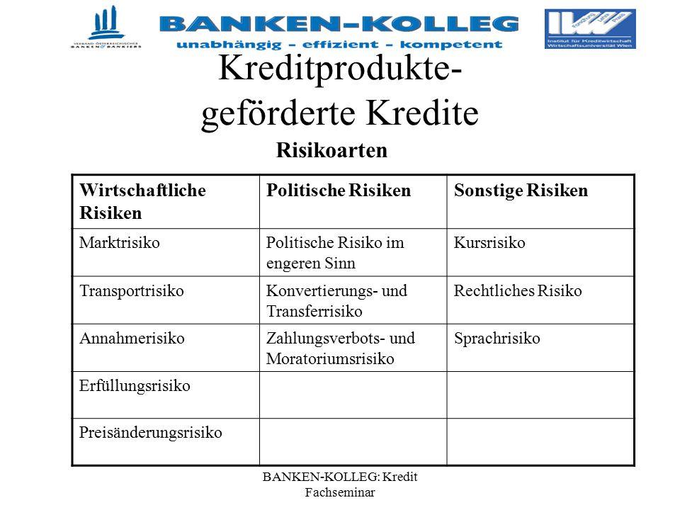 BANKEN-KOLLEG: Kredit Fachseminar Kreditprodukte- geförderte Kredite Risikoarten Wirtschaftliche Risiken Politische RisikenSonstige Risiken Marktrisik