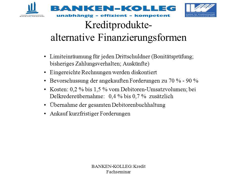 BANKEN-KOLLEG: Kredit Fachseminar Kreditprodukte- alternative Finanzierungsformen Limiteinräumung für jeden Drittschuldner (Bonitätsprüfung; bisherige