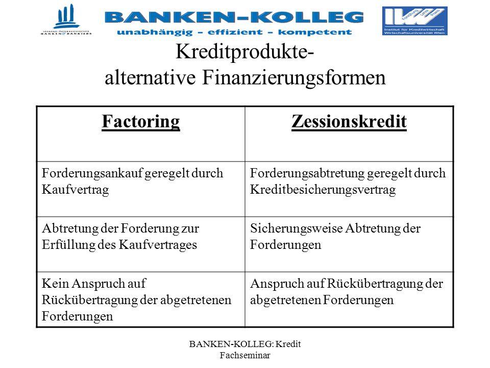 BANKEN-KOLLEG: Kredit Fachseminar Kreditprodukte- alternative Finanzierungsformen FactoringZessionskredit Forderungsankauf geregelt durch Kaufvertrag