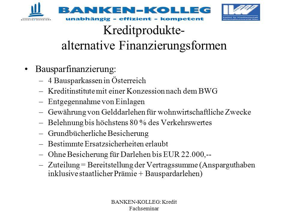 BANKEN-KOLLEG: Kredit Fachseminar Kreditprodukte- alternative Finanzierungsformen Bausparfinanzierung: –4 Bausparkassen in Österreich –Kreditinstitute
