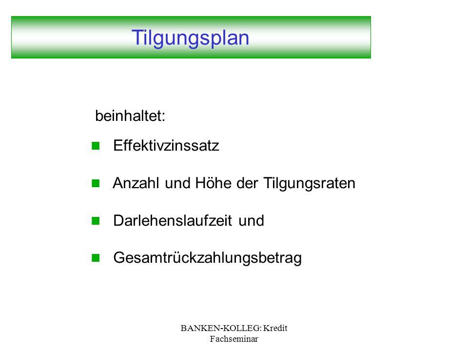 BANKEN-KOLLEG: Kredit Fachseminar Tilgungsplan beinhaltet: Effektivzinssatz Anzahl und Höhe der Tilgungsraten Darlehenslaufzeit und Gesamtrückzahlungs
