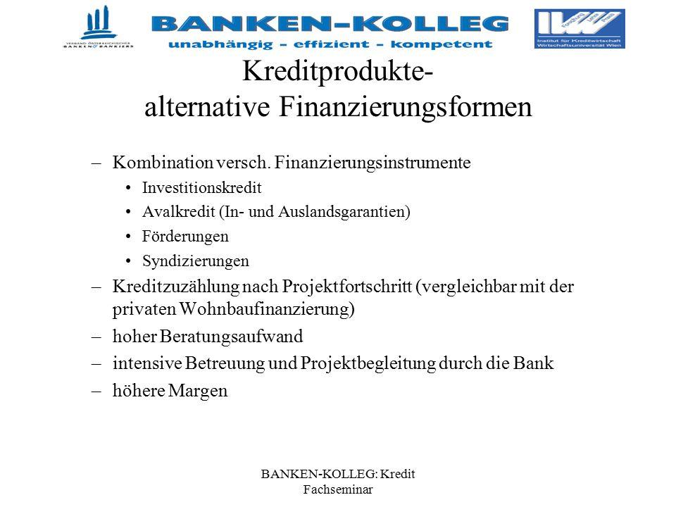 BANKEN-KOLLEG: Kredit Fachseminar Kreditprodukte- alternative Finanzierungsformen –Kombination versch. Finanzierungsinstrumente Investitionskredit Ava