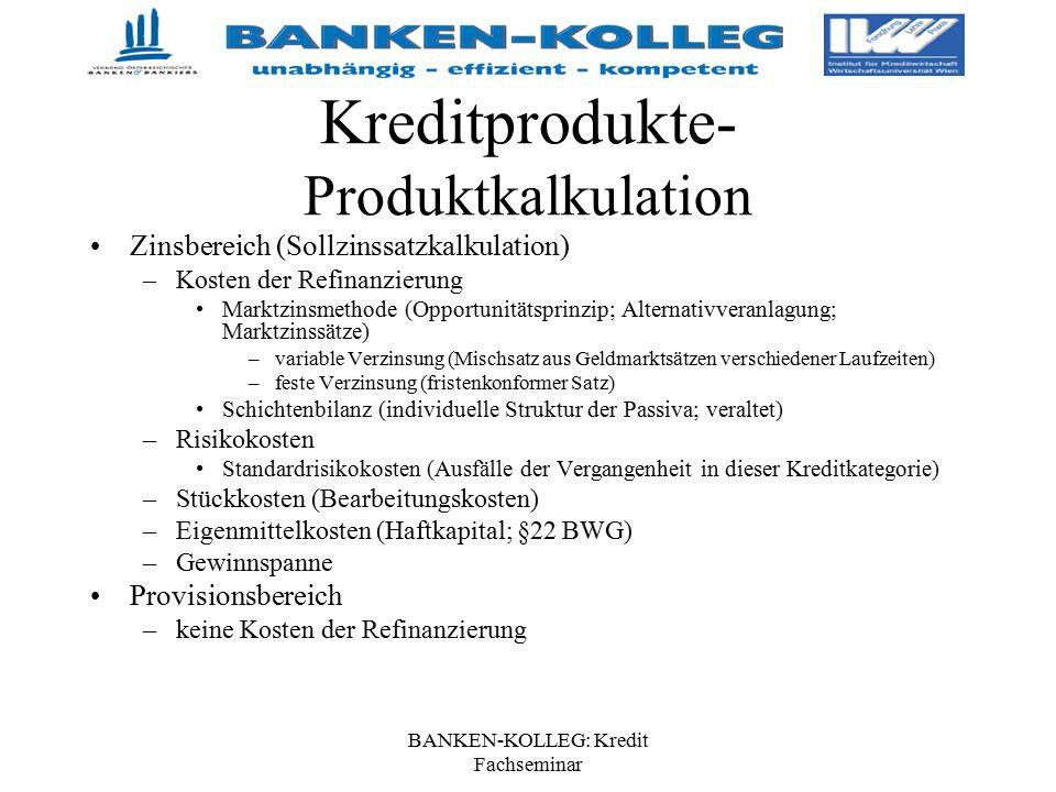 BANKEN-KOLLEG: Kredit Fachseminar Kreditprodukte- Produktkalkulation Zinsbereich (Sollzinssatzkalkulation) –Kosten der Refinanzierung Marktzinsmethode