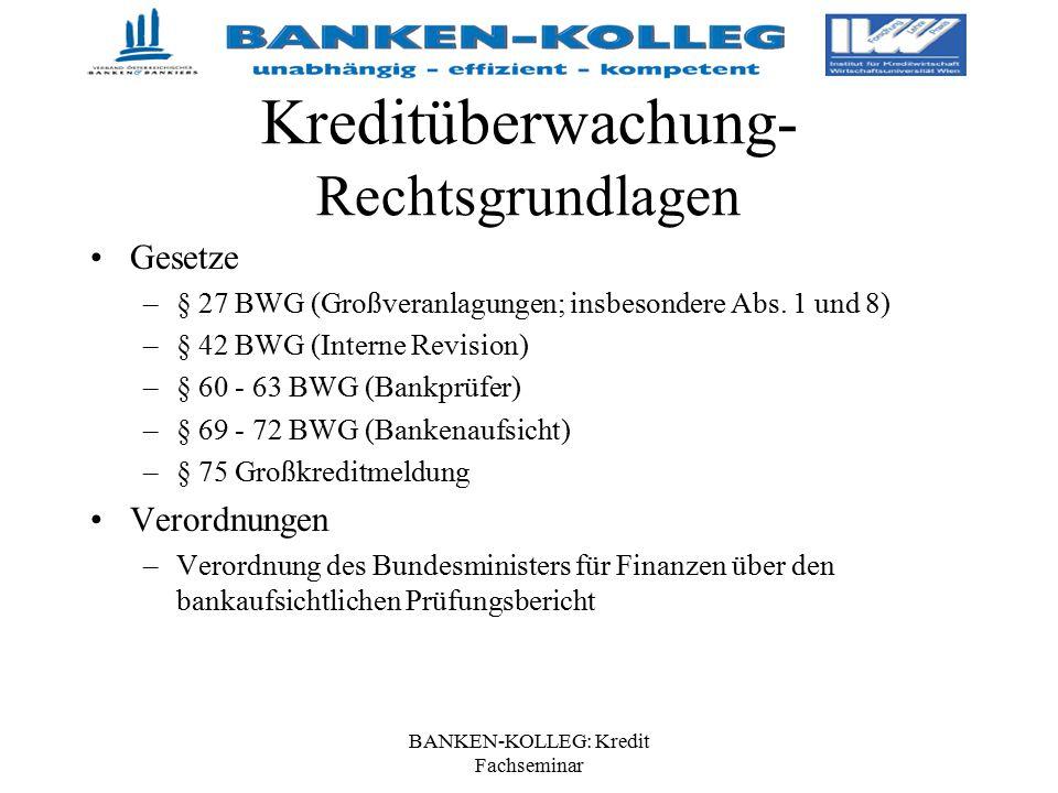 BANKEN-KOLLEG: Kredit Fachseminar Kreditüberwachung- Rechtsgrundlagen Gesetze –§ 27 BWG (Großveranlagungen; insbesondere Abs. 1 und 8) –§ 42 BWG (Inte