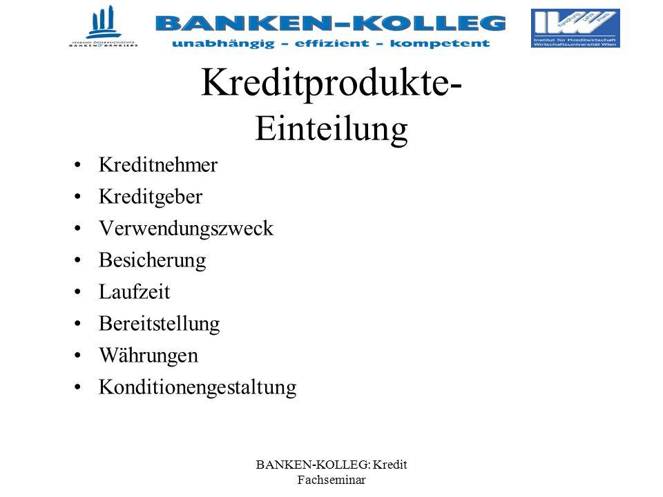 BANKEN-KOLLEG: Kredit Fachseminar Kreditprodukte- Einteilung Kreditnehmer Kreditgeber Verwendungszweck Besicherung Laufzeit Bereitstellung Währungen K