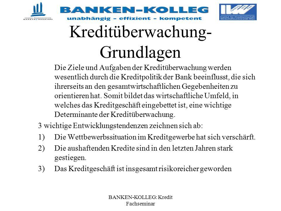 BANKEN-KOLLEG: Kredit Fachseminar Kreditüberwachung- Grundlagen Die Ziele und Aufgaben der Kreditüberwachung werden wesentlich durch die Kreditpolitik