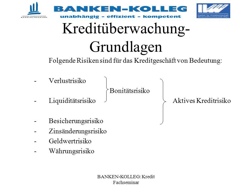 BANKEN-KOLLEG: Kredit Fachseminar Kreditüberwachung- Grundlagen Folgende Risiken sind für das Kreditgeschäft von Bedeutung: -Verlustrisiko Bonitätsris