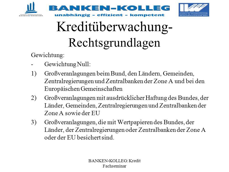 BANKEN-KOLLEG: Kredit Fachseminar Kreditüberwachung- Rechtsgrundlagen Gewichtung: -Gewichtung Null: 1)Großveranlagungen beim Bund, den Ländern, Gemein
