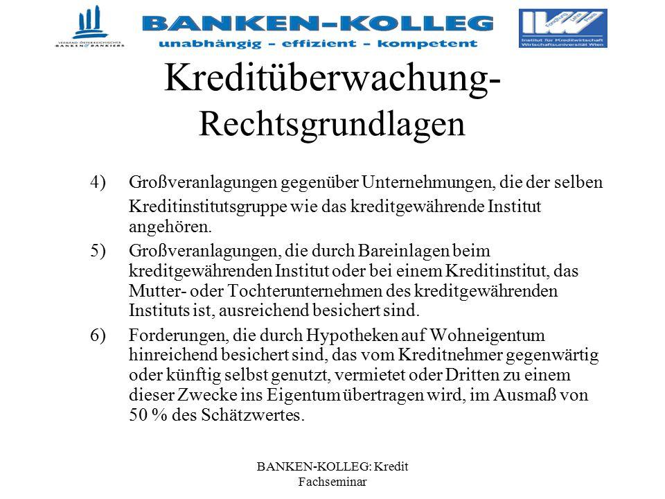 BANKEN-KOLLEG: Kredit Fachseminar Kreditüberwachung- Rechtsgrundlagen 4)Großveranlagungen gegenüber Unternehmungen, die der selben Kreditinstitutsgrup