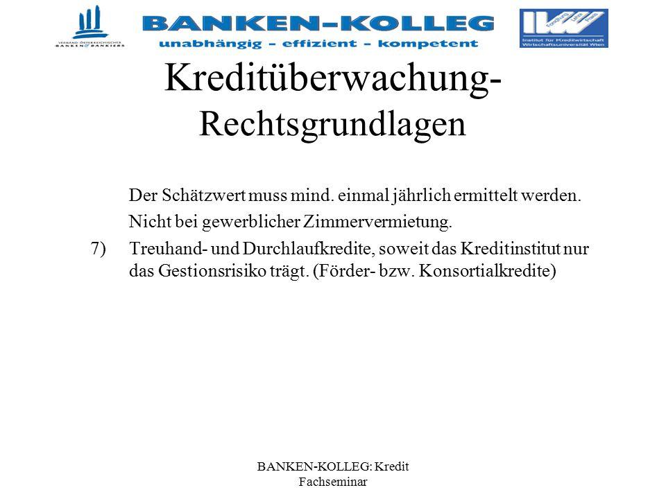 BANKEN-KOLLEG: Kredit Fachseminar Kreditüberwachung- Rechtsgrundlagen Der Schätzwert muss mind. einmal jährlich ermittelt werden. Nicht bei gewerblich