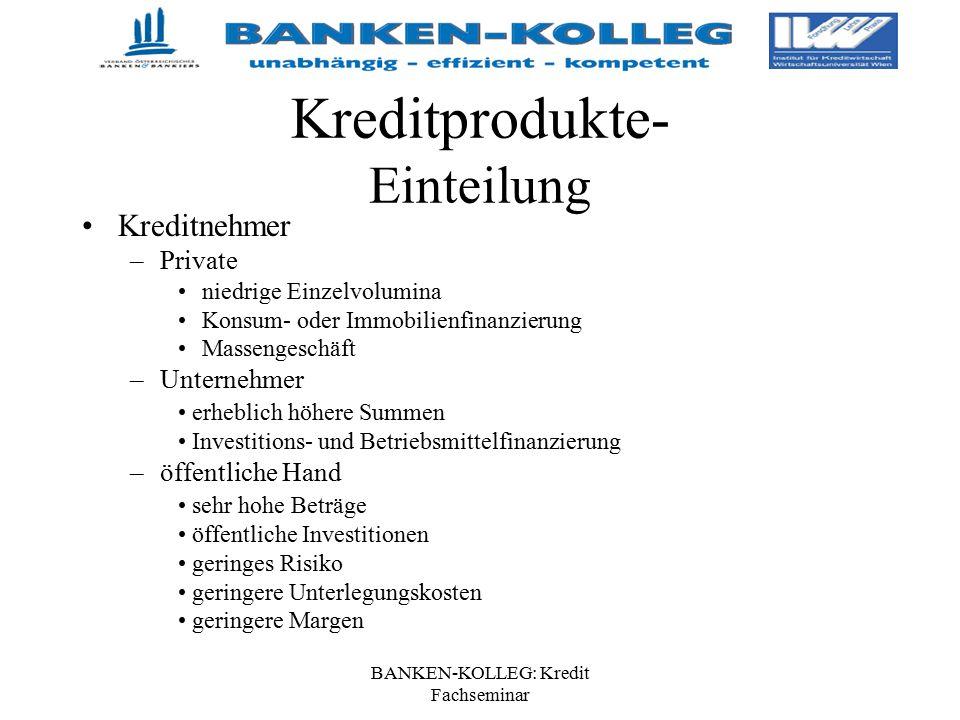 BANKEN-KOLLEG: Kredit Fachseminar Kreditprodukte- Einteilung Kreditnehmer –Private niedrige Einzelvolumina Konsum- oder Immobilienfinanzierung Masseng